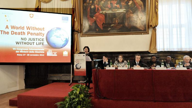 Roma, 27 novembre 2012, il VII Congresso dei Ministri della Giustizia, per un  mondo senza pena di morte