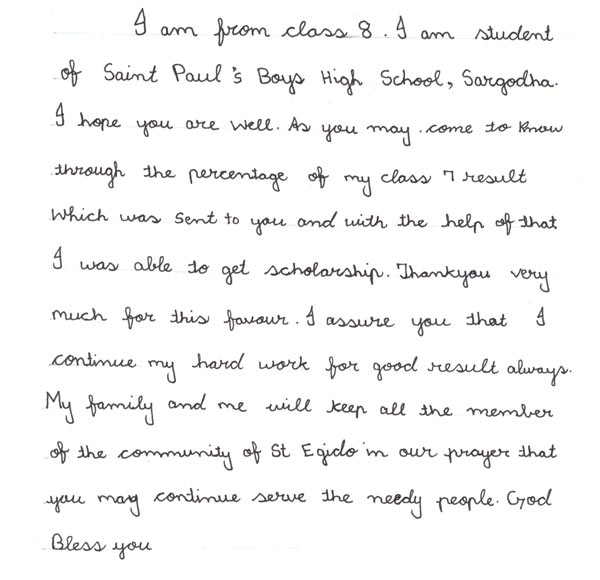 One of the letters sent by the students that are recipients of scholarships at the end of the first semester