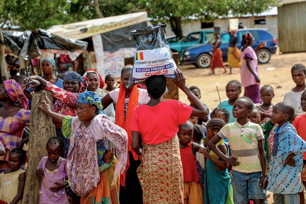 Humanitarian aids at the Kunchigoro Refugee Camp in Abuja (Nigeria)